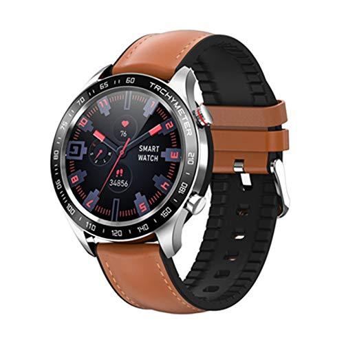 LYB Hombres Negocio Reloj Inteligente Ritmo Cardíaco Presión Arterial Monitor Múltiple Deporte Múltiple A Prueba De Smartwatch Mujeres Aptitud Pulsera (Color : Brown)