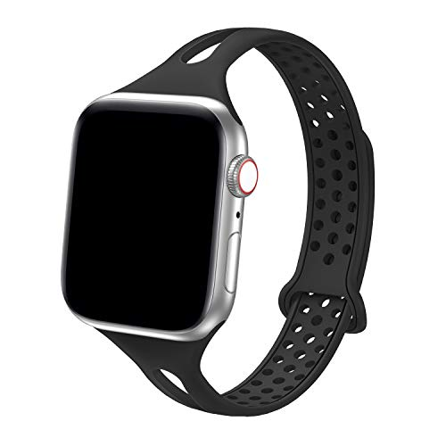 Sport Watch Band Compatible with Apple Watch 38mm 40mm, Breathable Soft Silicone Sport Strap Replacement Bands for iWatch 2019 Series 5/4/3/2/1, Nike+,Sport,Edition (Black)
