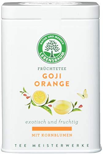 Lebensbaum Premium Kräuter- und Früchtetees Lose - Tee Meisterwerke - Goji Orange Mit Kornblumen - Dose, 70 g