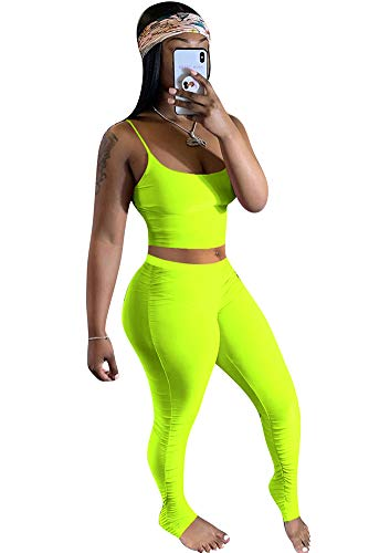Women 2 Piece Workout Outfits Clubwear Crop Top Scrunch Butt Legging Pants Set Fluorescence Green 2XL
