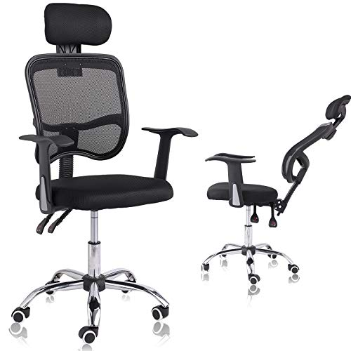 IPKIG Ergonomic Mesh Office Chair - High Back Home Office Chair Adjustable Headrest and Backrest with T-Shape Arms, 90°-165° Tilt Function and 360° Universal Wheels, Swivel Computer Task Chair (Black)