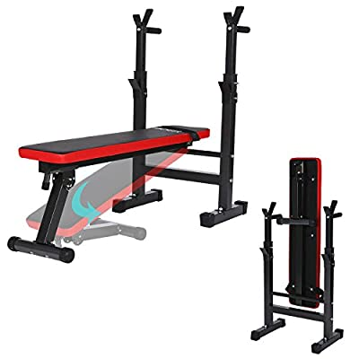 Ancheer Multiuse Folding Weight Bench with Adjustable Barbell Rack Height,Proffesional Multi-Functional Fitness Folded Barbell Flat Exercise Gym Home ( No Barbell Is Included) by Ancheer