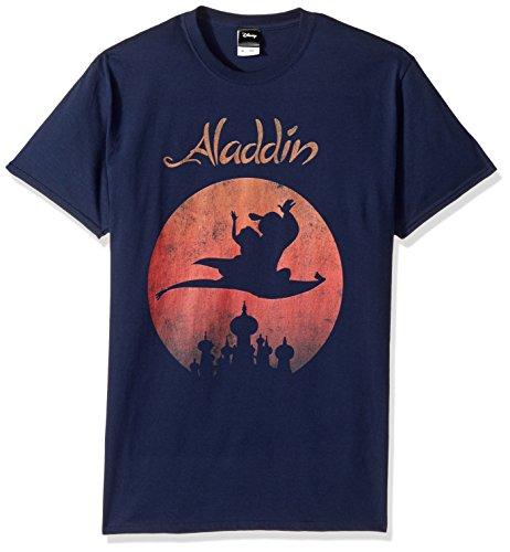 Disney Logo Mensprin0028-10001001Aladdin puesta del sol impresiones Camiseta gráfica de la camiseta - azul - S