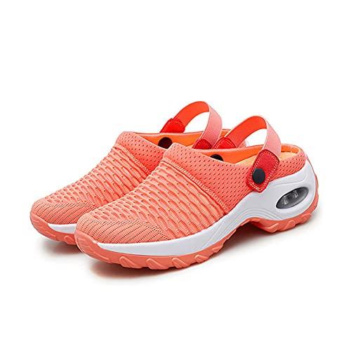 ERLINGO Zapatos de senderismo para mujer, transpirables, informales, con cojín de aire, para aumentar el peso ligero y cómodas, sandalias de malla de tenis, al aire libre, gimnasio, correr, tenis