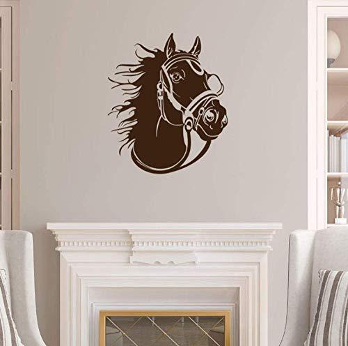 Racing Horse Head profiel dier muursticker huis decoratie woonkamer vinyl afneembare DIY decals Art Murals 56x67cm