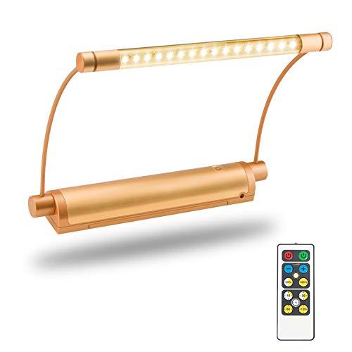HONWELL Luci per Pittura LED senza fili a batteria,Lampada da parete Dimmerabile moderna per quadri con telecomando,16 LED Lampada da Specchio 100lm,300° ruotata testa Luce per Trucco,Oro Rosa