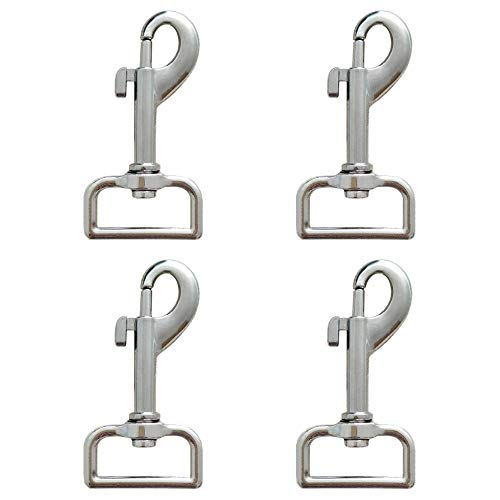 Shuxy 4pcs Bolt Snap Swivel Snap Hooks Square Eye Clasp Metal Buckle Trigger Clip Multipurpose Nickel Plated Snap for Pet Buckle Key Chain Linking Dog Leash Collar Handmade Crafts Project, Silver
