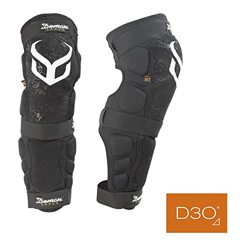 Demon D3O Hyper Knee/Shin Mountain Bike Knee Pads- D30 Knee Pads and Shin Pads for MTB/BMX/Snowboard/Motorcycle Knee Pads- Come as a Pair (LRG)