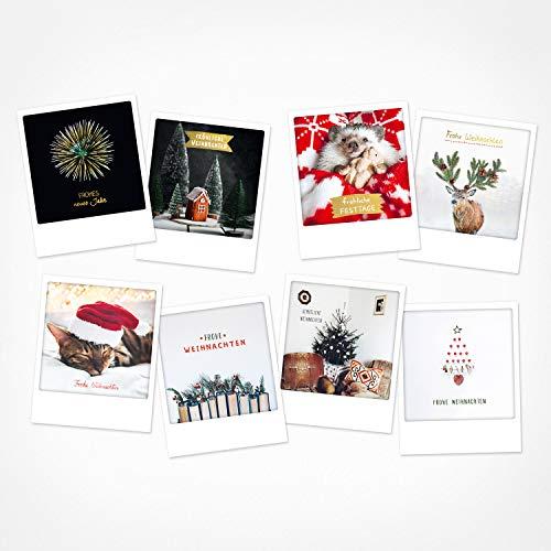 PICKMOTION Set 2 mit 8 Foto-Post-Karten Weihnachten, Instagram-Fotografen-Weihnachts-Karten, handgemachte Grußkarten, lustige Sprüche & Motive X-Mas, Christmas-Cards, BPK-0102