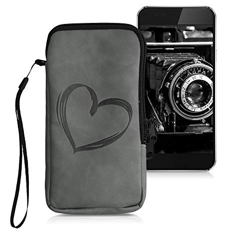 kwmobile Universal Smartphone Pouch Size L - 6.5' - Synthetic Leather Case w/Zipper - Brushed Heart Grey
