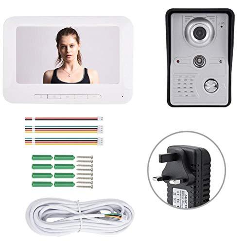 Pwshymi Intercom - Timbre de puerta de vídeo con intercomunicador bidireccional (7 pulgadas, pantalla TFT a color, para oficinas, para el hogar (regulación británica)