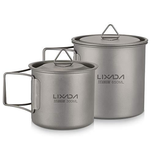 Lixada Titanium Tasse Camping Kochgeschirrset Tragbar Becher Teilbare Faltbare Griffe mit Deckeldesign für Camping-Wanderrucksäcke im Freien