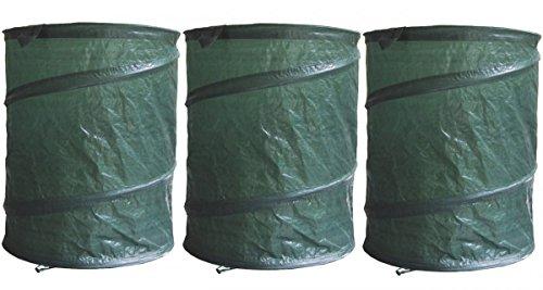 Fachhandel Plus 3er Set Garten-Abfallsack Pop-Up PE, Laubsack, Rasensack, Gartentasche, 160 L