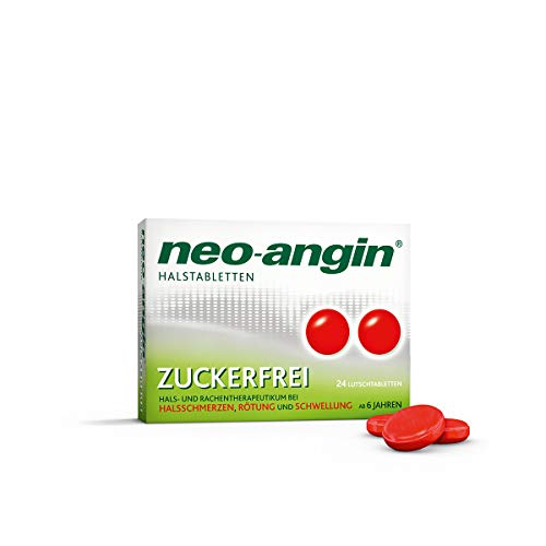 neo-angin Halstabletten zuckerfrei – Lutschtabletten bei Halsschmerzen & Halsentzündungen – 24 Tabletten