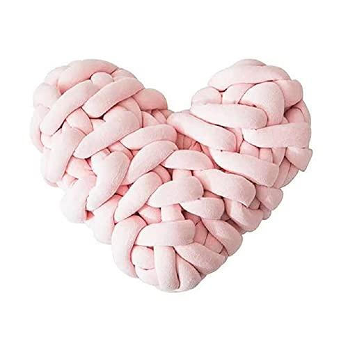Meiruyu Almohada de Nudo en Forma de corazón. Cojín de Nudo Tejido a Mano. Almohada de Nudo de Felpa Suave. Sofá Coche cojín decoración del hogar fotografía Accesorios Decoración (Rosa)