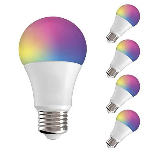 Bombilla LED WiFi E27, Compatible con Alexa, Google Assistant, WiFi LED Bombilla, Control Remoto por Teléfono Inteligente, Regulable a Través de la App, 5 Unidades