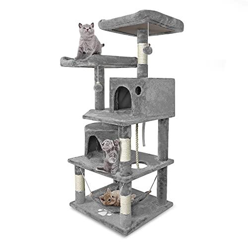 Aufun Stabiler Kratzbaum 145 cm hoch Kletterbaum für Katzen mit Häuschen und Liegemulde, Plüsch-Sitzmulden, Sisal umwickelte Kratzstellen, Hellgrau
