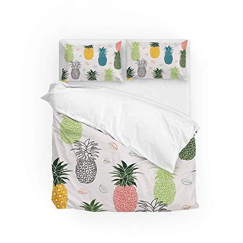 161 Soft Quilt Bedding Set Colorful Pineapple Duvet Cover with 2 Pillowcases Set 3 PCS 200 x 200 CM, Double Size