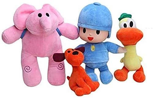 WSZOK Set de 4 muñecos de Peluche Pocoyo Elly Pato Loula muñecos de Animales Blandos Regalos para niños