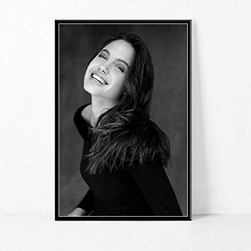 wojinbao DIY Digitale Malerei-Hot Filmstar Schauspielerin schwarz und weiß Rauchen Leinwand Poster drucken Porträt Bild Wand Art Deco Wandbild(40x50cmKein Rahmen)