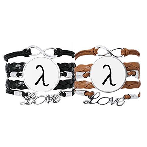 DIYthinker Armband mit griechischem Alphabet, Lambdasonde, schwarze Silhouette, Lederseil, Doppelset, Geschenk