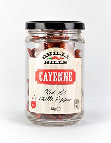 Chilli Hills Chiles deshidratadas CAYENA. Las mejores guindillas y las más picantes, cultivadas en nuestro huerto familiar y deshidratadas a conciencia para conservar su sabor. 25 gramos