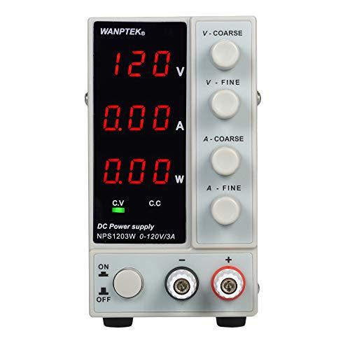 KKmoon Fuente de alimentación de CC de conmutación NPS1203W 0-120V 0-3A3 dígitos Pantalla LED Alta precisión ajustable CA 115V / 230V 50 / 60Hz Salida regulada de voltaje y corriente