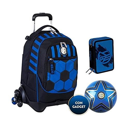 TROLLEY ZAINO SCUOLA F.C. Inter neroazzurri 3 RUOTE con zaino staccabile nuova collezione Seven + astuccio 3 zip Destiny + omaggio pallone e portachiave calcio