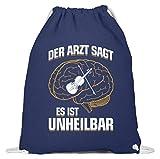 shirt-o-magic Geige: .es ist unheilbar - Baumwoll Gymsac -37cm-46cm-Marineblau