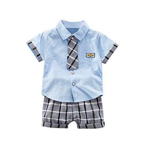 Gentiluomo - Conjunto de verano para niño de 1 a 4 años, 2 piezas, camisa polo de manga corta con corbata + pantalones cortos de plaid gris turquesa 6- 12 Meses