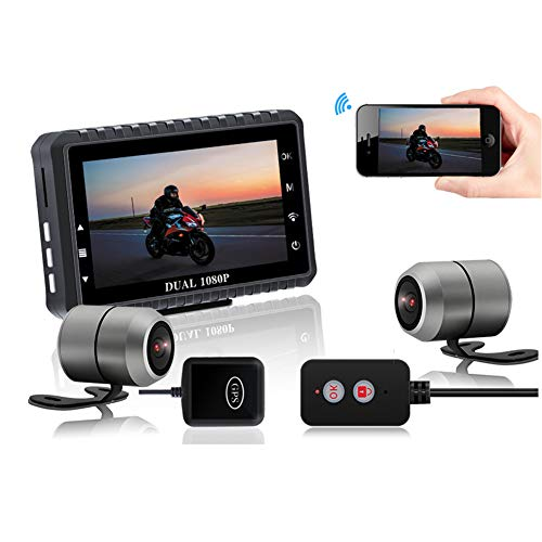 WXCC Motorbike DVR Dash Cam,HD 1080P Waterproof Motorcycle Driving Recorder with Front Rear Dual,Motorcycle Security Sports Action Camera