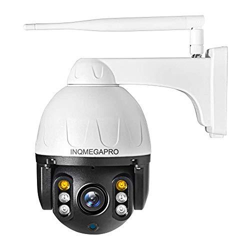 INQMEGAPRO PTZ Domo Cámara de Vigilancia Exterior WiFi Seguridad Inalámbrica HD 1080P IP66 Impermeable Cubierta Metálica, Audio Bidireccional, Visión Nocturna, Detección de Movimiento, Blanco y Negro