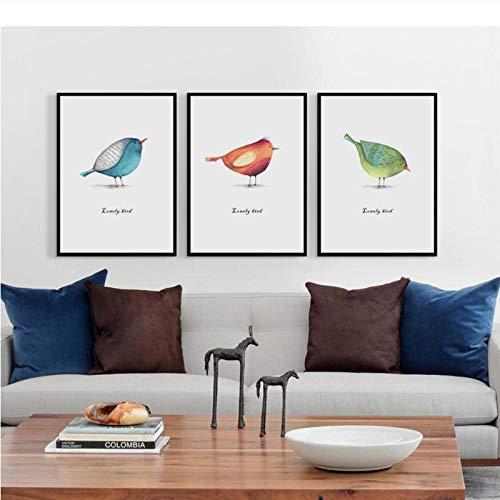LLXHG Elegante Gedichte Minimalistische kunst Scandinavische vogel solitaire A4 canvas schilderij kunstdruk poster schilderij wanddecoratie huisdecoratie 50 x 70 cm x 3 zonder lijst