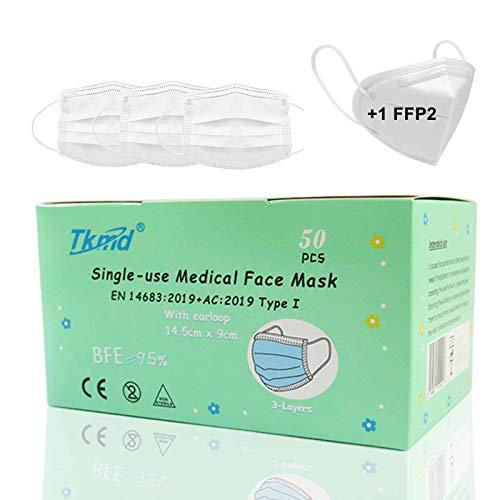 50 St. TÜV Geprüft Kindermasken Medical Kids Mask EN14683 Typ I 3-lagig Medizinische Einweg-Schutzmasken BFE 95% Weiß CE