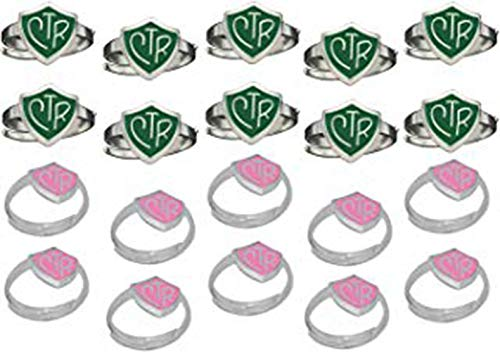 H14G - H14P Size Adjustable 20 Pack Green and Pink CTR Ring Mormon LDS Unisex One Moment In Time