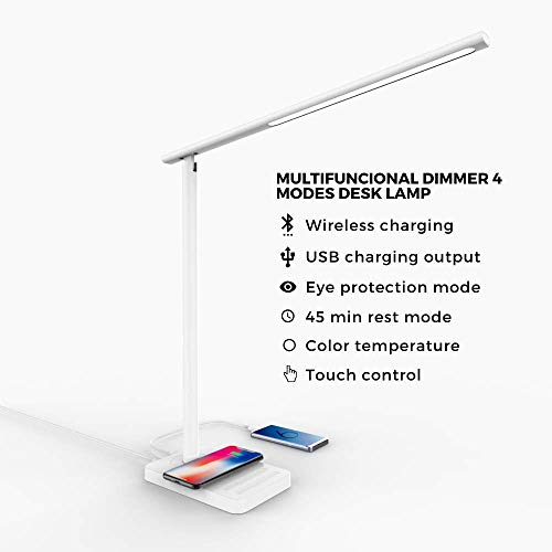 Lámpara Escritorio LED, con carga de móvil inalámbrica y USB White Jelly