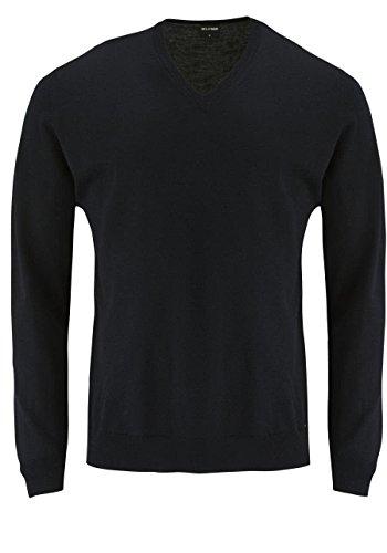 Olymp Strick V-Ausschnitt Pullover petrol 100% Merinowolle, Schwarz, Gr. XL