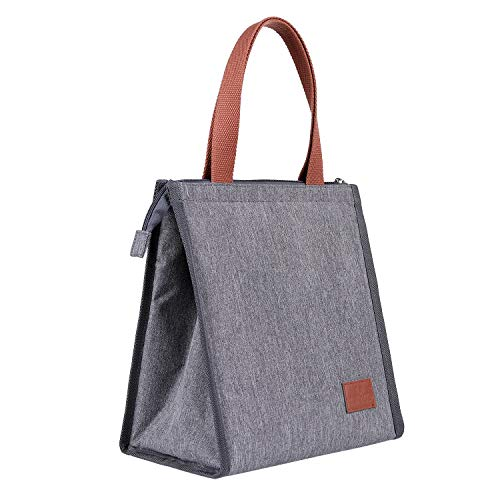 Insulated Lunch Bag for Women Men Tote Bag Large Handbag with Zipper Lunch Box for Work, School, Shopping