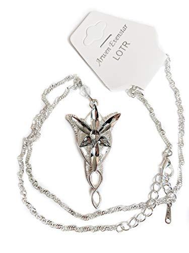 Lord of the Rings Hobbit unisex gioielli Elven Green Leaf collana spilla e stella del Vespro lega resina orecchini Bundle