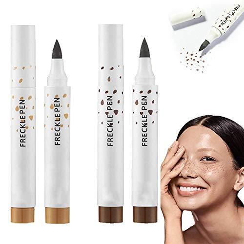 juxia 2 STÜCKE Faux Freckles Makeup Pen, Natürlicher Weicher Brauner Sommersprossenstift, Dauerhafter Wasserdichter Punktfleckstift Erstellen Sie Die Mühelosesten Sunkissed (Mischen)
