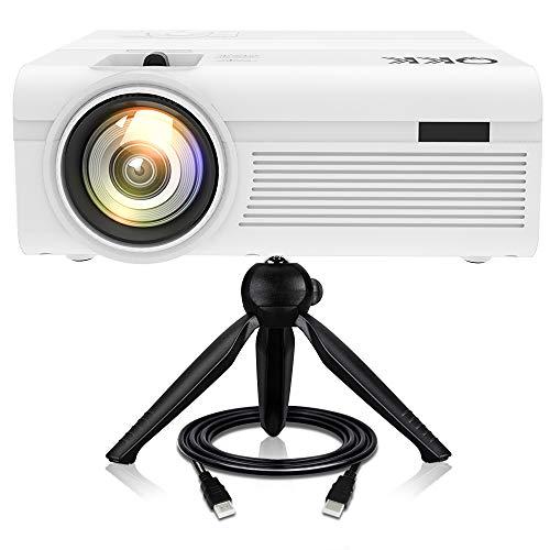 QKK Beamer mit Stativ, 3800 Lumens Projektor, Mini Beamer, Videobeamer unterstützt 1080P Full HD, Verbindung mit HDMI VGA SD USB AV Geräte, Heimkino Projektor, Weiß.
