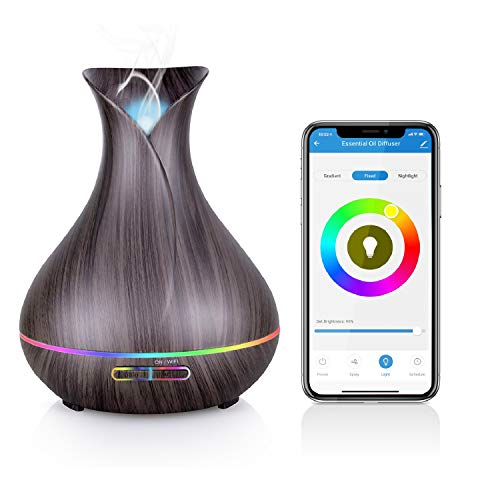 Alexa Difusor Aromaterapia WiFi, Maxcio Humidificador Ultrasónico Aceites Esenciales 400ml 7-Color LED 2 Modos de Nieble Controlable por Vía Wifi y Voz Compatible Con Amazon Alexa y Google Home