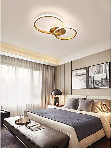 Deckenlampe Schlafzimmer Wohnzimmerlampe Modern Rund Ring Design Gold LED Dimmbar Büro Esszimmer Badezimmer Flurlampe Fernbedienung Decken Pendelleuchte Chic Acryl Schirm Küchen Deko Deckenleuchten