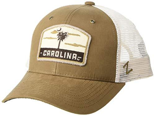 NCAA South Carolina Fighting Gamecocks Mens Tempe Trucker Hat, Coffee/off white, Adjustable
