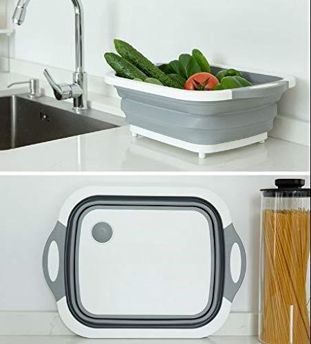 HYY-AA Plato Cesta Inicio telescópica almacenamiento conveniente cesta de fruta Vehículos que se lavan de drenaje de plástico cesta plegable de cocina Lavavajillas (Actualiza puede cortar verd