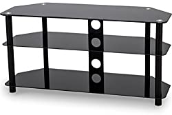 Dimensions: w1000 x d390 x H500 mm Holds up to 30 kg Suitable for TVs up to 50 Piano black glass shelves Angled back - ideal for a corner or flat against a wall