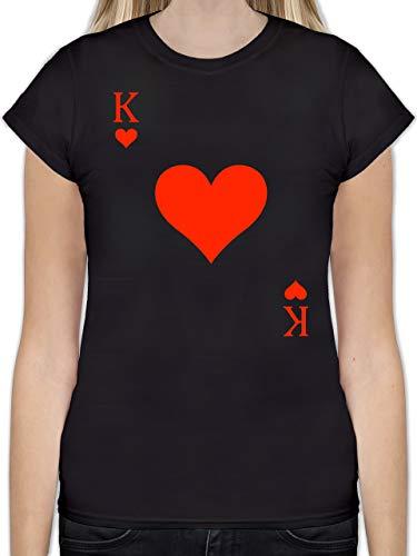 Karneval & Fasching - King Kartenspiel Karneval Kostüm - S - Schwarz - kostüm kartenspiel - L191 - Tailliertes Tshirt für Damen und Frauen T-Shirt