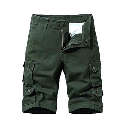 Briskorry - Pantalones cortos para hombre, para correr, deporte, para el club 38 Verde militar.