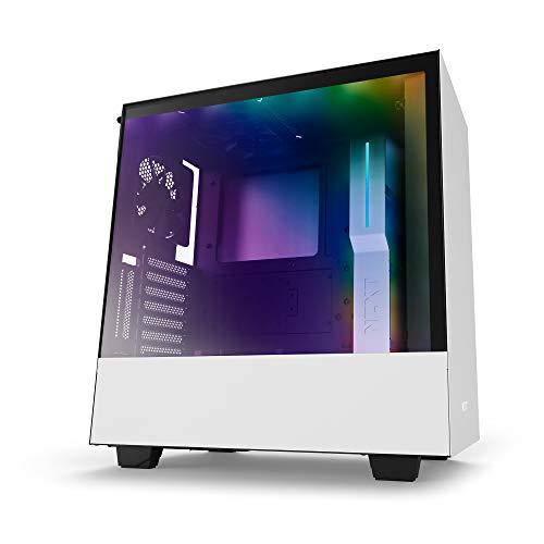 NZXTH500i - Kompaktes ATX-Mid-Tower-Gehäuse für Gaming-PCs - SmartDevice mit CAM-Unterstützung - Hartglasfenster - Bereit für Wasserkühlungen - Weiß/Schwarz - 2018 Version
