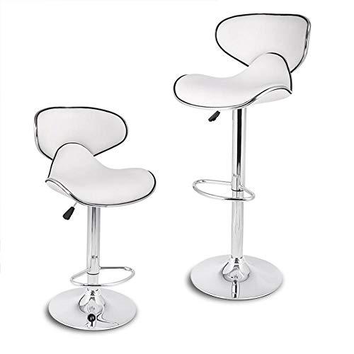 Zplyer Barkruk retro eetkamerstoel moderne minimalistische kruk geschikt voor café-restaurant verstelbaar voetenbankje van kunstleer met gasveer en twee onderdelen wit